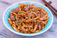 Stir Fried noodle with pork in soy sauced Royalty Free Stock Photos