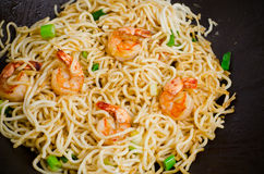 Stir-fried noodle with shrimp Stock Photos