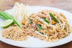 Stir-fried noodle with shrimp or Shrimps Pad Thai Royalty Free Stock Image