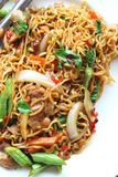 Stir fried noodle spicy in pork Stock Photos