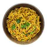 Stir-fried Noodle With Bacon And Spinach Royalty Free Stock Photo