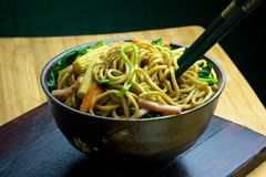 Stir-fried Noodles. Chow mein (Chinese stir-fried noodles) in a bowl Stock Photo