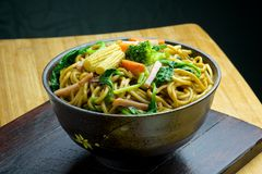 Stir-fried Noodles. Chow mein (Chinese stir-fried noodles) in a bowl Royalty Free Stock Photo