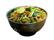 Stir-fried Noodles. Chow mein (Chinese stir-fried noodles) in a bowl Stock Images