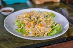 Stir Fried Noodles with Chicken with vegetable and fish sauce on the wooden Table. Thai food royalty free stock photos