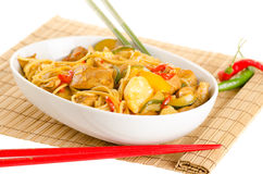 Stir-fried noodles with chicken and vegetables served in a bowl, Stock Photos