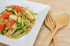 Stir-fried noodles, Chinese style. Close Up Stir-fried noodles, Chinese style stock image