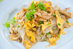 Stir fried noodles with egg, pork, vetgetables Royalty Free Stock Images