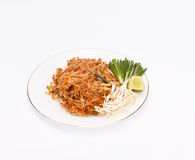 Stir fried noodles. Pad Thai or stir fried noodles and vegetables on plate stock image