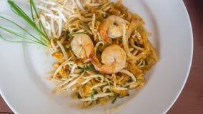 Pad thai noodles - Birds Eye View Royalty Free Stock Photo