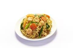 Stir-fried noodles with shrimp Stock Photo