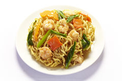 Stir-fried noodles with shrimp Royalty Free Stock Photography