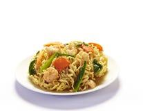 Stir-fried noodles with shrimp Stock Photos
