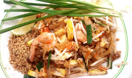 Stir fried noodles with tamarind. Asian - Thai food, Stir fried noodles with tamarind sauce, tofu and fresh shrimps & x28;prawns& x29; served with bean sprout Stock Image