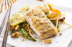 Stir-Fried Noodles with Vegetable and Fish Royalty Free Stock Image