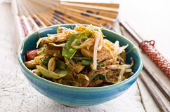 Stir-Fried Noodles with Vegetables. Stir fried noodles with vegetables as closeup in a traditional bowl Royalty Free Stock Images