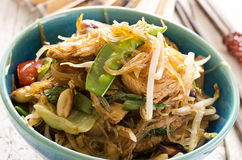 Stir-Fried Noodles with Vegetables. As closeup in a bowl Royalty Free Stock Photos