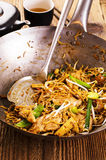 Stir Fried Noodles in Wok Stock Image