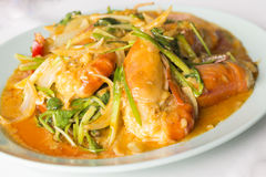 Stir fried pacific white shrimp curry Royalty Free Stock Photos