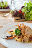 Stir Fried pasta with Dried Chill & Deep fried soft shell crab Royalty Free Stock Photography