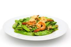 Stir-fried peas with shrimp Stock Images