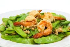 Stir-fried peas with shrimp Stock Photos