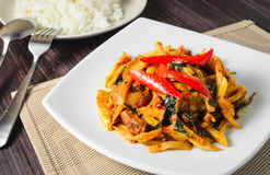 Stir fried pork and bamboo shoots with chilli curry Royalty Free Stock Photo