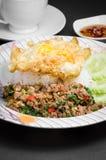 Stir-fried pork and basil Stock Photo
