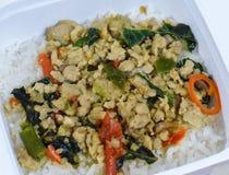 Stir-fried pork and basil-Thai food Stock Photo