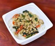 Stir-fried pork and basil-Thai food Royalty Free Stock Photography