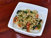 Stir-fried pork and basil-Thai food Stock Image