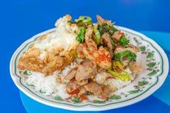 Stir-fried pork and basil Stock Images