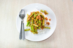 Stir fried pork and curry paste Royalty Free Stock Photos