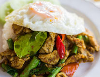 Stir fried pork with curry paste serve with fried egg Royalty Free Stock Photo