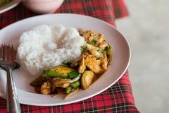 Stir fried pork with green chili(Moo Pad Prik). Serve on table Royalty Free Stock Photos