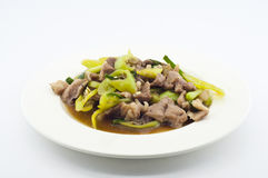 Stir fried pork with green chili pepper. Stock Photos