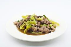 Stir fried pork with green chili pepper. Stock Photos
