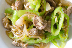 Stir fried pork with green chili pepper. Royalty Free Stock Photography