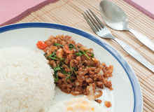 Stir-fried pork with holy basil Stock Photo
