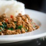 Stir Fried Pork Holy Basil With Rice - Selecti Stock Photography