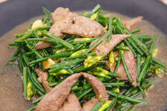 Stir fried pork liver with vegetable Royalty Free Stock Image