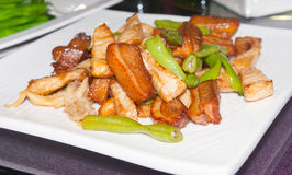 Stir fried pork with paprika. Fevorite and delicious food of Asian Stock Photo