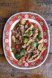 Stir fried pork with shrimp paste and vegetable Stock Photo