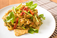 Stir fried pork spicy yellow curry with vegetable Royalty Free Stock Photo