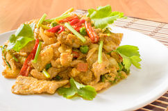 Stir fried pork spicy yellow curry with vegetable Royalty Free Stock Photos