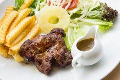 Stir Fried Pork Steak , Roasted Grilled Pork Steak. Stir Fried Pork Steak ,Roasted Grilled Pork Steak Stock Photos