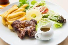 Stir Fried Pork Steak , Roasted Grilled Pork Steak.  Royalty Free Stock Photos