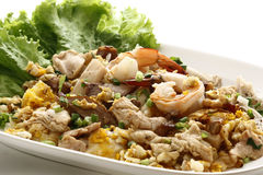 Stir fried prawn with egg and chicken Stock Photos