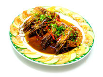 Stir fried prawn in preserved black bean sauce Stock Photo