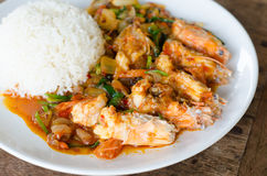 Stir Fried  Prawn with Roasted Chili Paste Stock Photography
